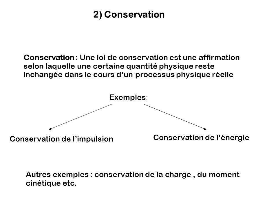 2) Conservation Conservation : Une loi de conservation est une affirmation selon laquelle une certaine quantité physique reste inchangée dans le cours