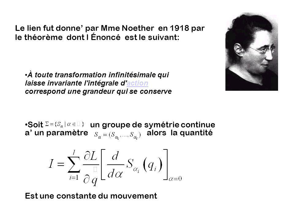 Le lien fut donne par Mme Noether en 1918 par le théorème dont l Énoncé est le suivant: À toute transformation infinitésimale qui laisse invariante l'