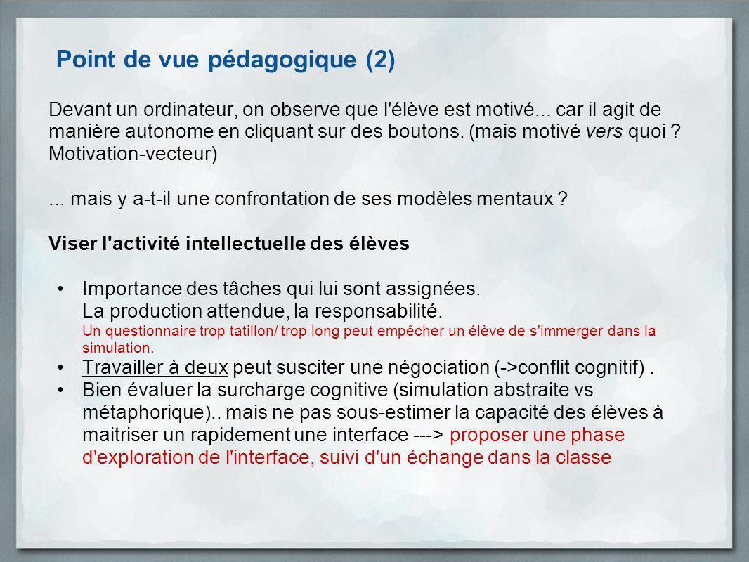 Point de vue pédagogique (2) Devant un ordinateur, on observe que l'élève est motivé... car il agit de manière autonome en cliquant sur des boutons. (