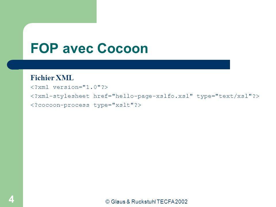 © Glaus & Ruckstuhl TECFA 2002 5 FOP avec Cocoon Fichier XSL / Cocoon <xsl:stylesheet xmlns:xsl= http://www.w3.org/1999/XSL/Transform xmlns:fo= http://www.w3.org/1999/XSL/Format version= 1.0 > type= text/xslfo .......