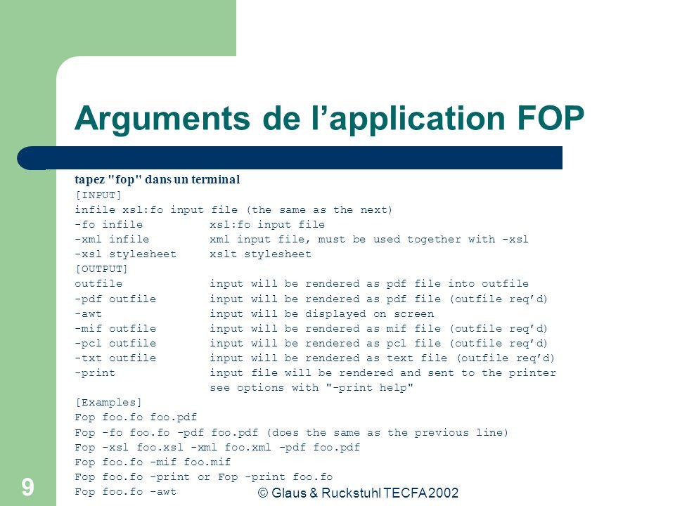 © Glaus & Ruckstuhl TECFA 2002 10 Arguments de lapplication FOP Syntaxe: Fop [options] [-fo|-xml] infile [-xsl file] [-awt|-pdf|- mif|-pcl|-txt|-print] Syntaxe pour créer un fichier pdf: fop -xml fichier.xml -xsl fichierfo.xsl -pdf fichier.pdf