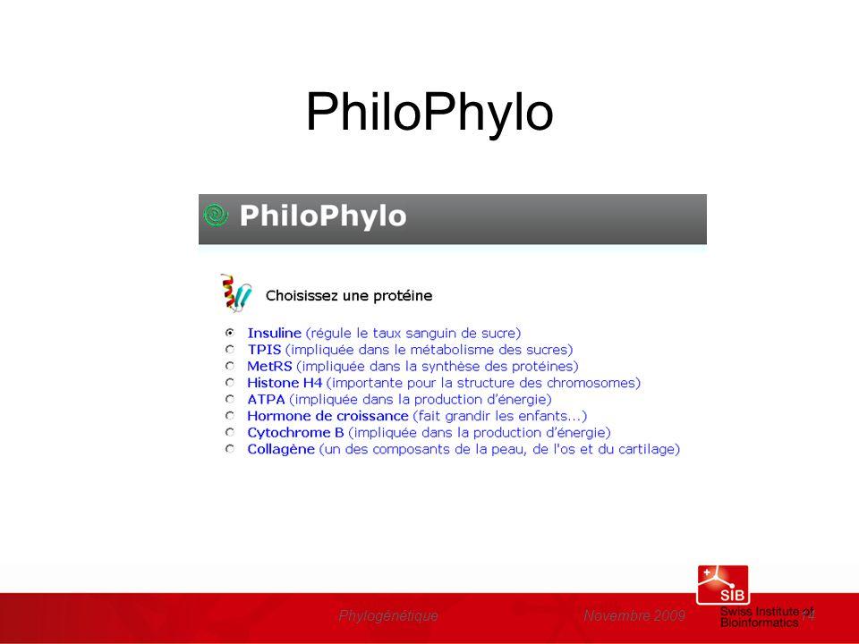 Novembre 2009Phylogénétique14 PhiloPhylo