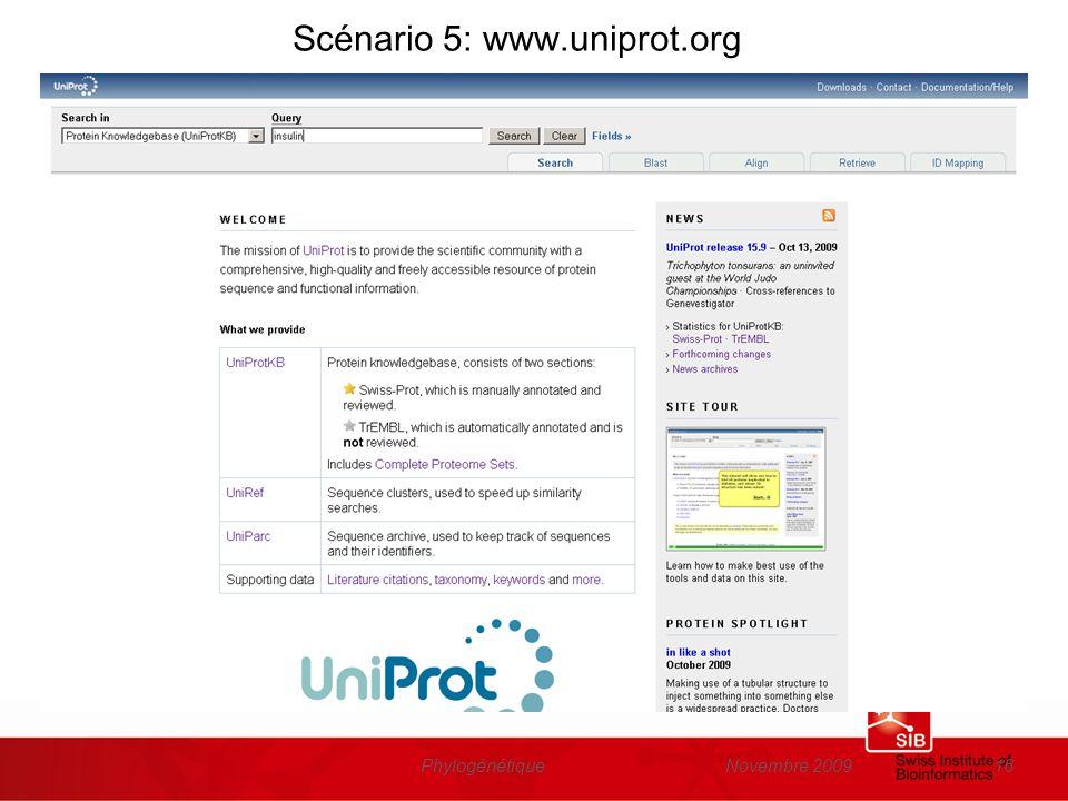 Novembre 2009Phylogénétique16 Scénario 5: www.uniprot.org