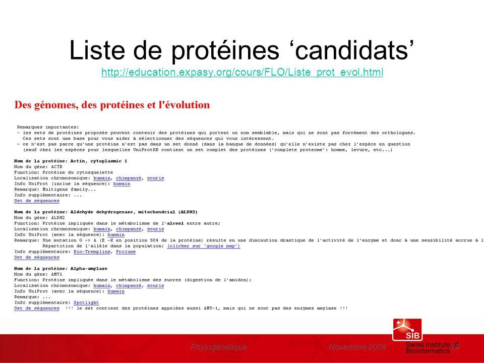 Novembre 2009Phylogénétique19 Liste de protéines candidats http://education.expasy.org/cours/FLO/Liste_prot_evol.html http://education.expasy.org/cour