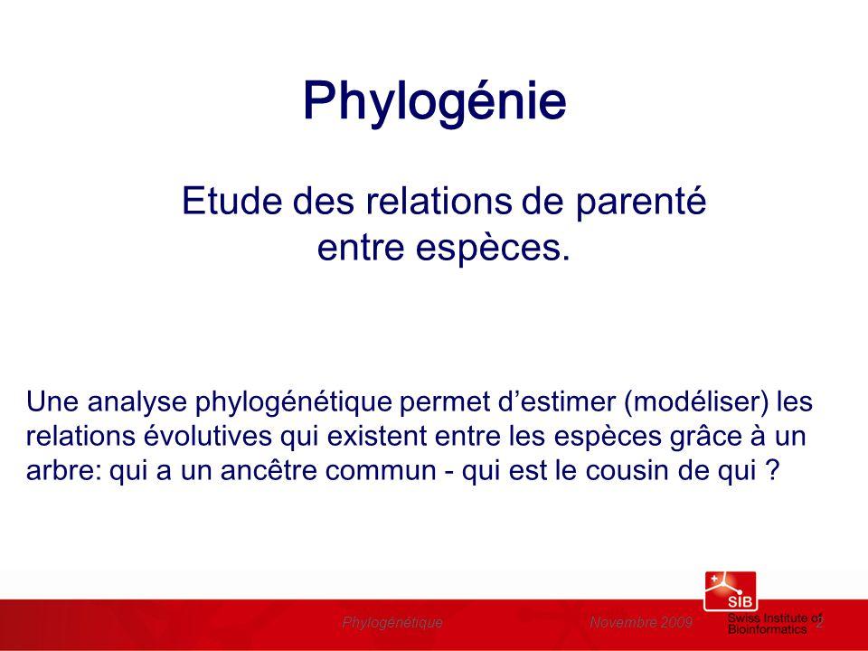 Novembre 2009Phylogénétique2 Phylogénie Etude des relations de parenté entre espèces. Une analyse phylogénétique permet destimer (modéliser) les relat