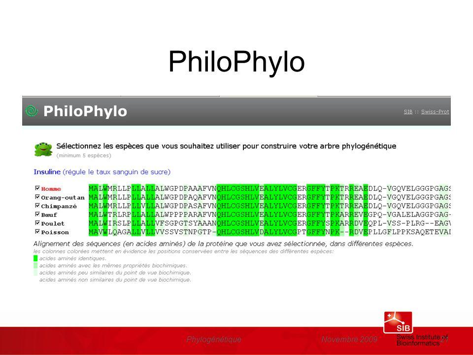 Novembre 2009Phylogénétique21 PhiloPhylo