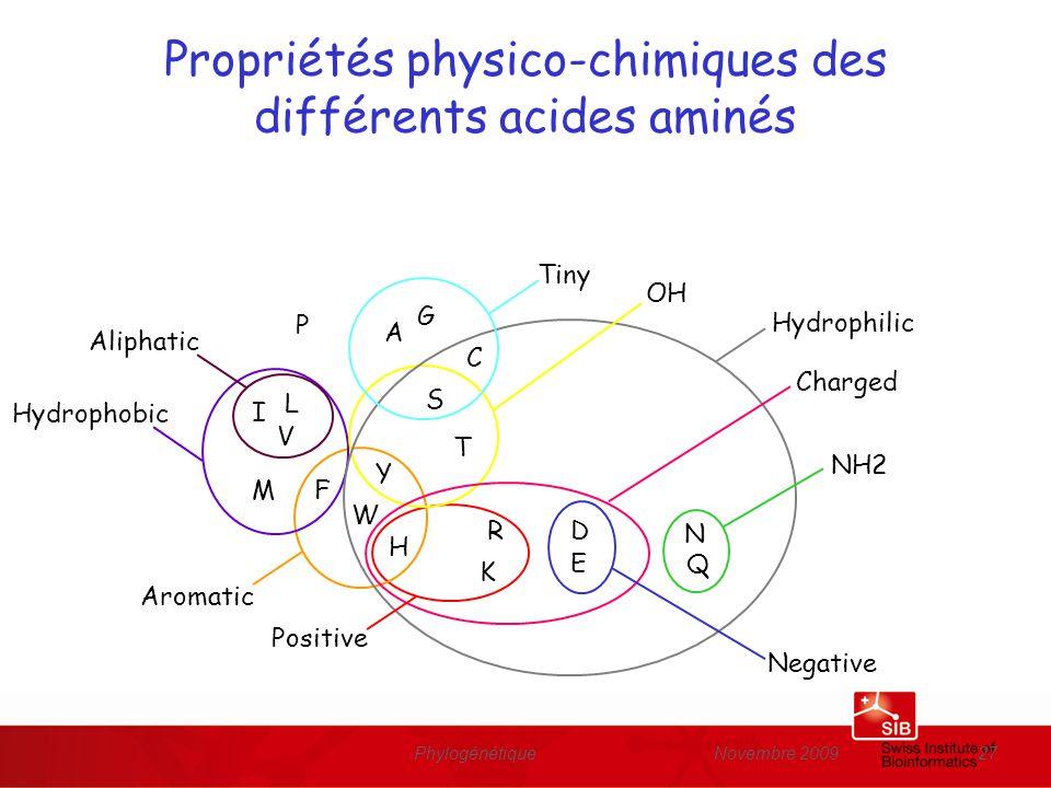 Novembre 2009Phylogénétique27 Propriétés physico-chimiques des différents acides aminés N Q D E R K F H W Y M I L V T S A G C P Hydrophilic NH2 OH Tin
