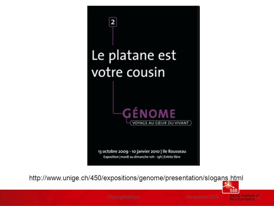 Novembre 2009Phylogénétique24 Les mutations dans lADN peuvent être dûes à –Des erreurs lors de la réplication de lADN –Des agents chimiques ou physiques (fumée de cigarette, UV,…) –Des virus Les conséquences des mutations peuvent être des changements mineurs (changement dun acide aminé pour un autre) ou majeurs (duplication de gènes, délétion dun bout de chromosomes, …) Chez les mammifères, à chaque génération, il se produit en moyenne quelques dizaines de mutations dans le génome de chaque individu.