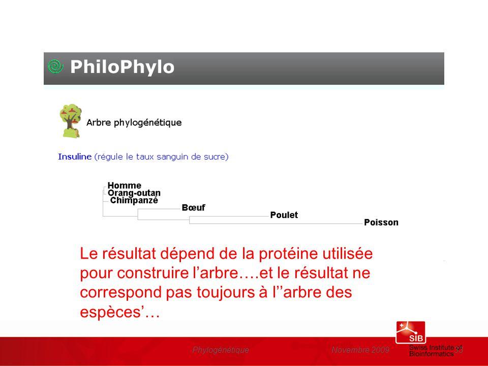 Novembre 2009Phylogénétique33 Le résultat dépend de la protéine utilisée pour construire larbre….et le résultat ne correspond pas toujours à larbre de
