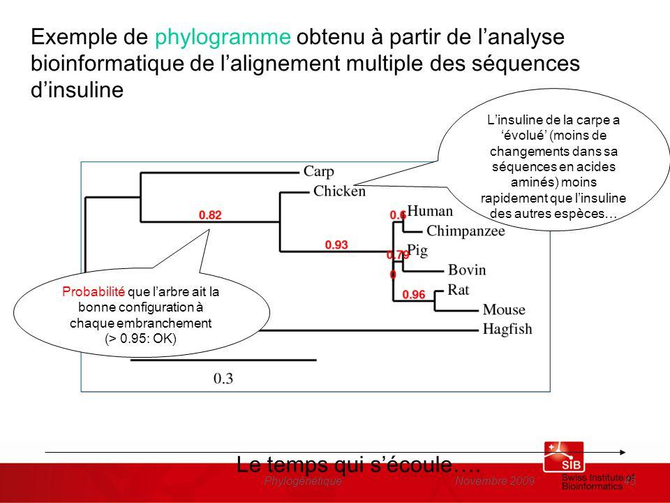 Novembre 2009Phylogénétique45 Exemple de phylogramme obtenu à partir de lanalyse bioinformatique de lalignement multiple des séquences dinsuline Proba