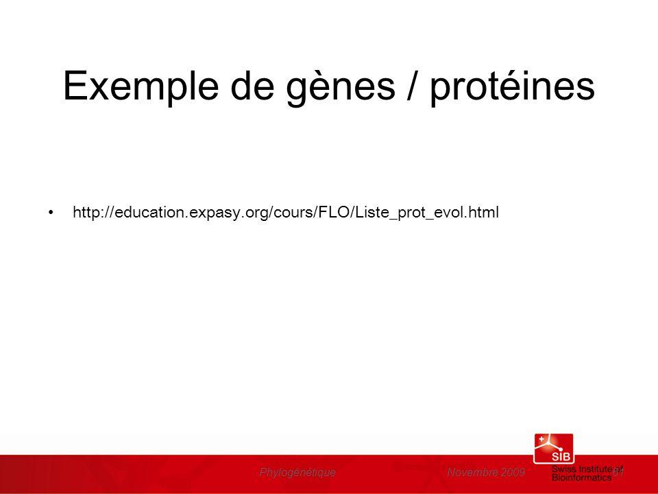 Novembre 2009Phylogénétique61 Exemple de gènes / protéines http://education.expasy.org/cours/FLO/Liste_prot_evol.html