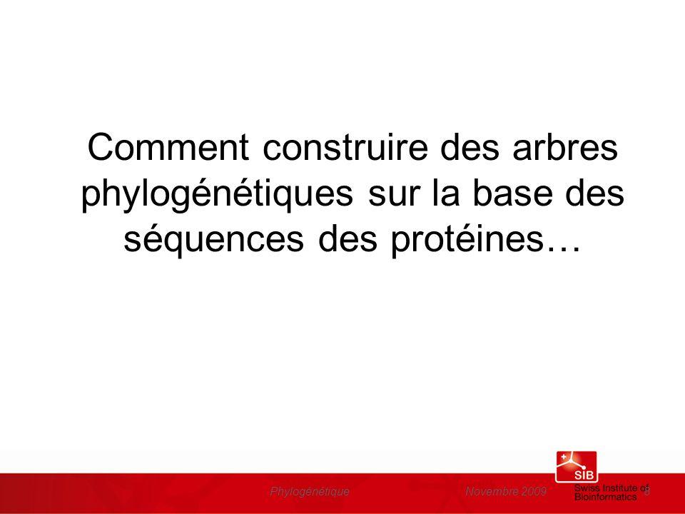 Novembre 2009Phylogénétique19 Liste de protéines candidats http://education.expasy.org/cours/FLO/Liste_prot_evol.html http://education.expasy.org/cours/FLO/Liste_prot_evol.html