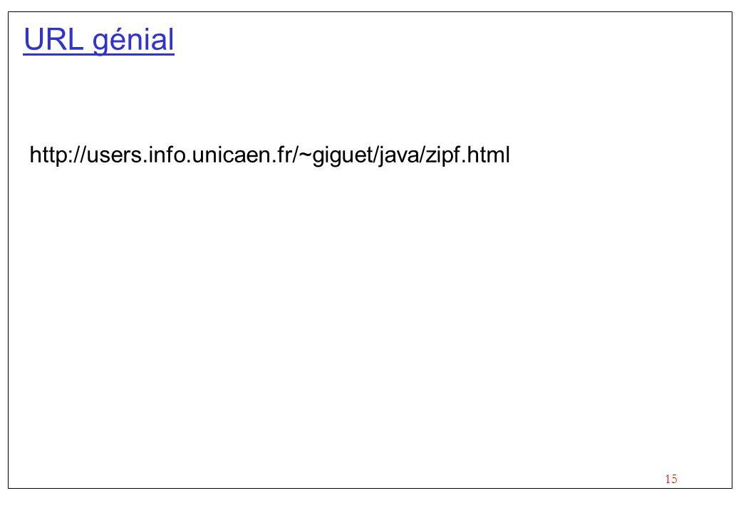 15 URL génial http://users.info.unicaen.fr/~giguet/java/zipf.html