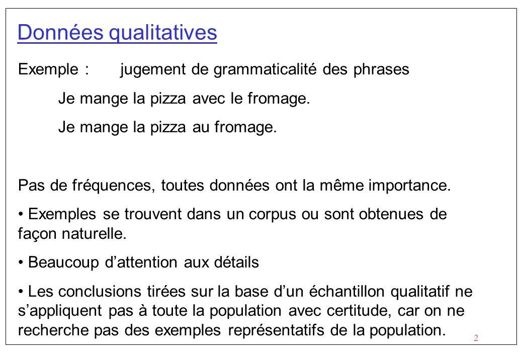 2 Données qualitatives Exemple : jugement de grammaticalité des phrases Je mange la pizza avec le fromage. Je mange la pizza au fromage. Pas de fréque