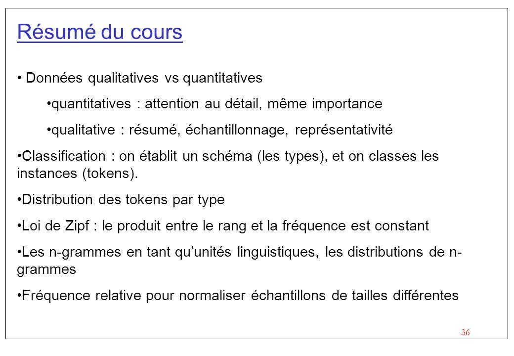 36 Résumé du cours Données qualitatives vs quantitatives quantitatives : attention au détail, même importance qualitative : résumé, échantillonnage, r