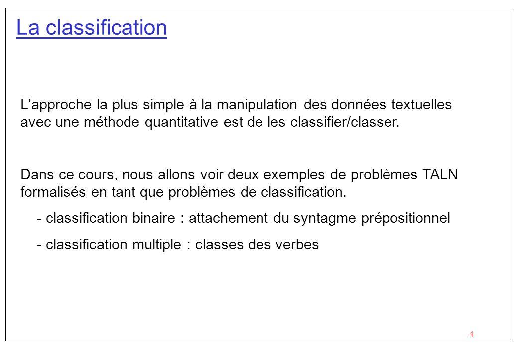 4 La classification L'approche la plus simple à la manipulation des données textuelles avec une méthode quantitative est de les classifier/classer. Da