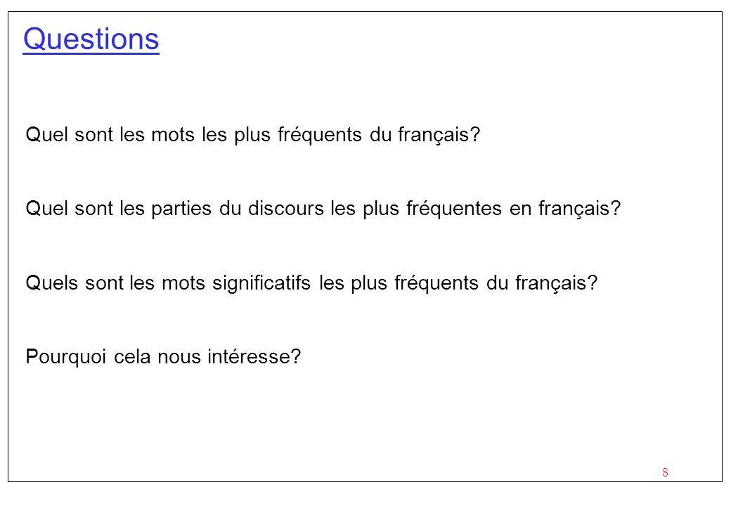 8 Questions Quel sont les mots les plus fréquents du français? Quel sont les parties du discours les plus fréquentes en français? Quels sont les mots