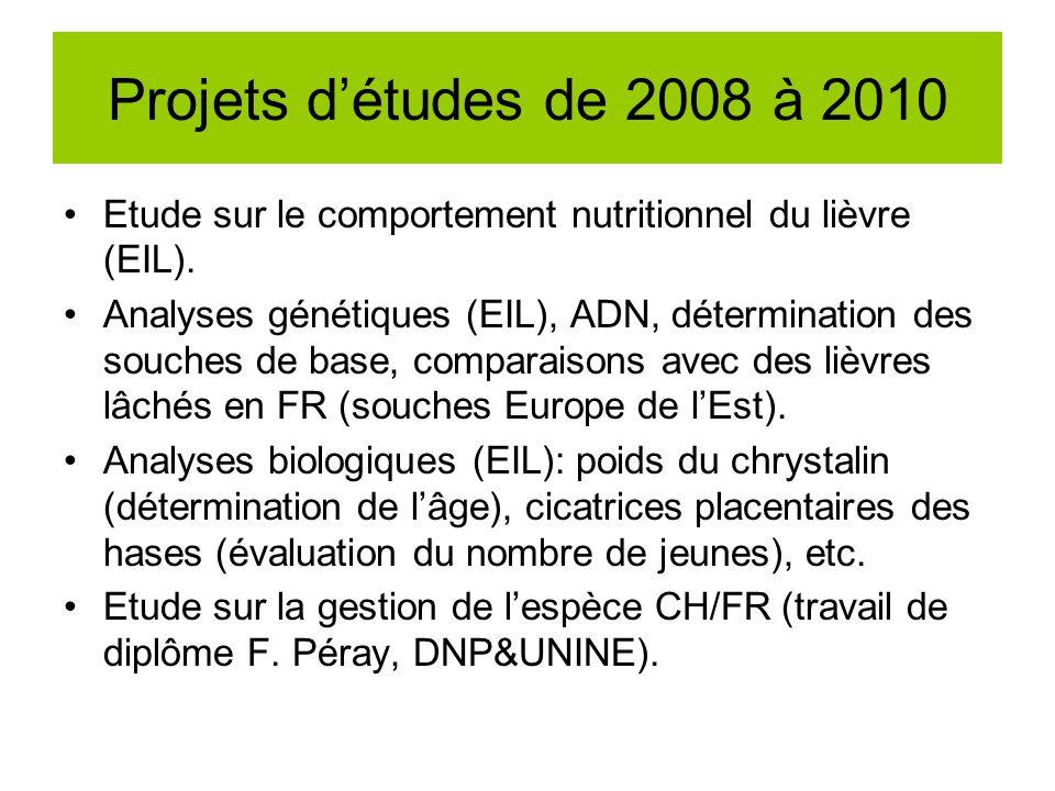 Projets détudes de 2008 à 2010 Etude sur le comportement nutritionnel du lièvre (EIL). Analyses génétiques (EIL), ADN, détermination des souches de ba