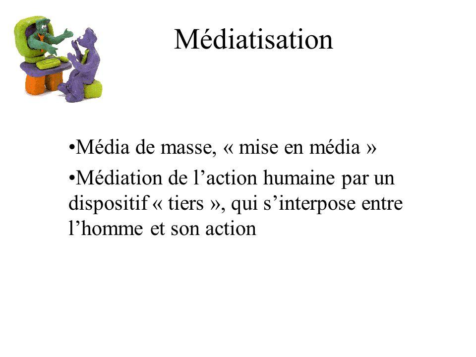 Médiatisation Média de masse, « mise en média » Médiation de laction humaine par un dispositif « tiers », qui sinterpose entre lhomme et son action
