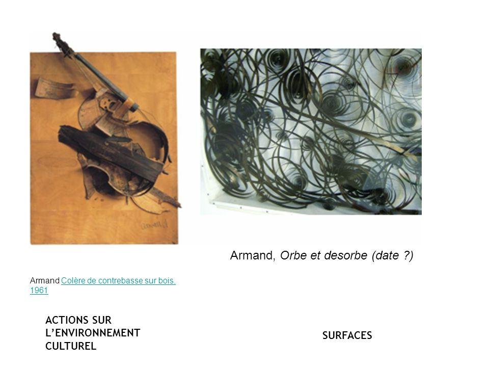 Armand Colère de contrebasse sur bois, 1961Colère de contrebasse sur bois, 1961 Armand, Orbe et desorbe (date ?) ACTIONS SUR LENVIRONNEMENT CULTUREL SURFACES