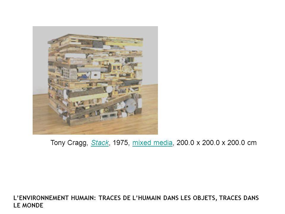 Tony Cragg, Stack, 1975, mixed media, 200.0 x 200.0 x 200.0 cmStackmixed media LENVIRONNEMENT HUMAIN: TRACES DE LHUMAIN DANS LES OBJETS, TRACES DANS L