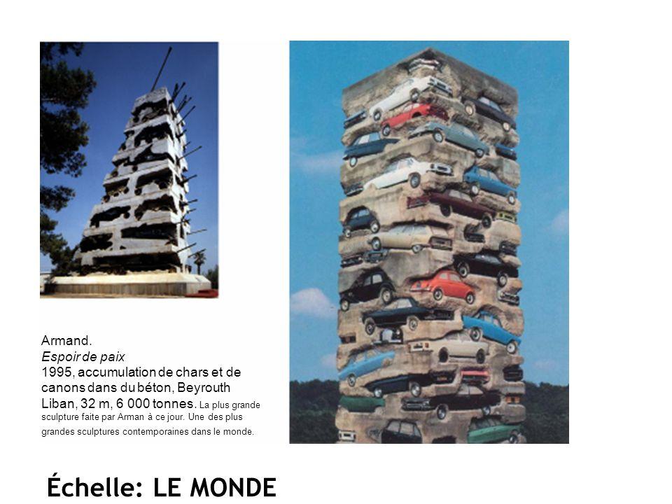 Armand. Espoir de paix 1995, accumulation de chars et de canons dans du béton, Beyrouth Liban, 32 m, 6 000 tonnes. La plus grande sculpture faite par