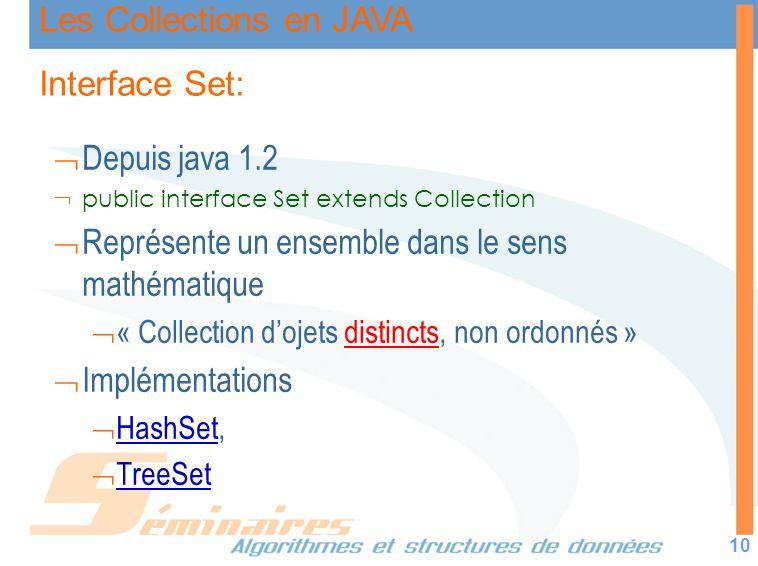 Les Collections en JAVA 10 Interface Set: Depuis java 1.2 public interface Set extends Collection Représente un ensemble dans le sens mathématique « C