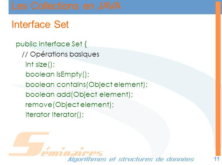 Les Collections en JAVA 11 Interface Set public interface Set { // Opérations basiques int size(); boolean isEmpty(); boolean contains(Object element)