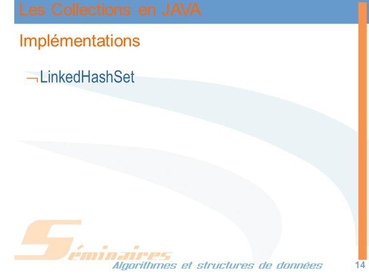 Les Collections en JAVA 14 Implémentations LinkedHashSet