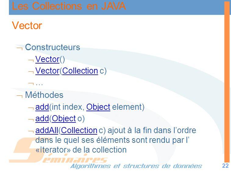 Les Collections en JAVA 22 Vector Constructeurs Vector() Vector Vector(Collection c) VectorCollection … Méthodes add(int index, Object element) addObj