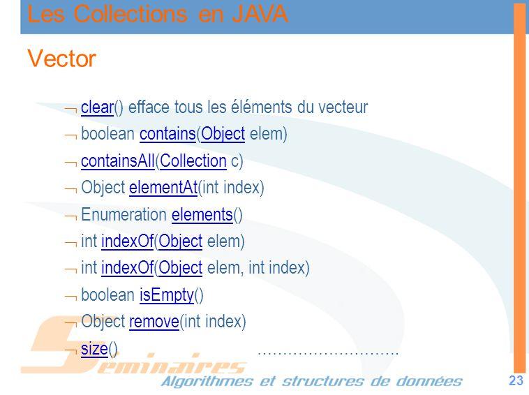 Les Collections en JAVA 23 Vector clear() efface tous les éléments du vecteur clear boolean contains(Object elem)containsObject containsAll(Collection