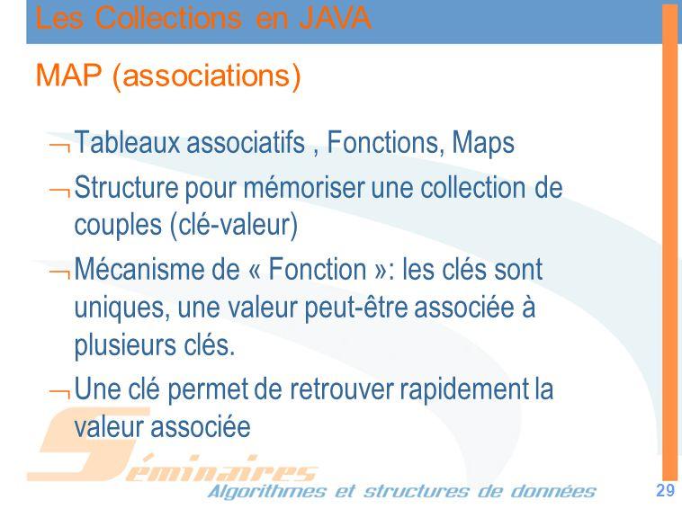 Les Collections en JAVA 29 MAP (associations) Tableaux associatifs, Fonctions, Maps Structure pour mémoriser une collection de couples (clé-valeur) Mé