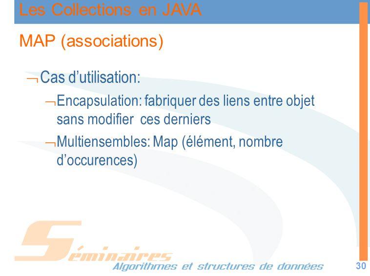 Les Collections en JAVA 30 MAP (associations) Cas dutilisation: Encapsulation: fabriquer des liens entre objet sans modifier ces derniers Multiensembl