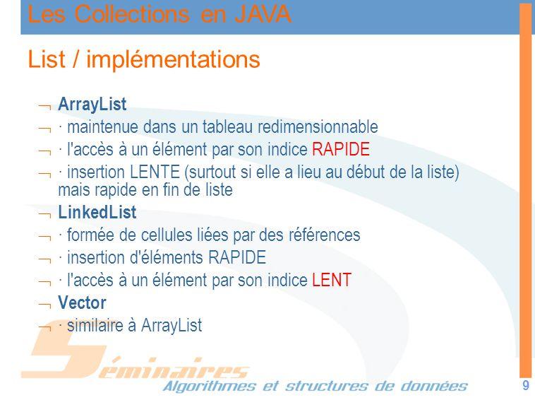 Les Collections en JAVA 9 List / implémentations ArrayList · maintenue dans un tableau redimensionnable · l'accès à un élément par son indice RAPIDE ·