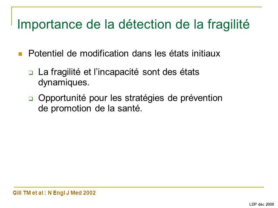 Importance de la détection de la fragilité Potentiel de modification dans les états initiaux La fragilité et lincapacité sont des états dynamiques.