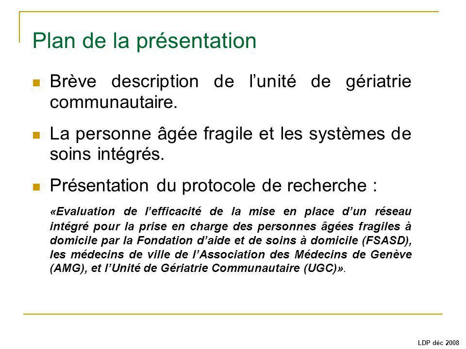 Plan de la présentation Brève description de lunité de gériatrie communautaire. La personne âgée fragile et les systèmes de soins intégrés. Présentati