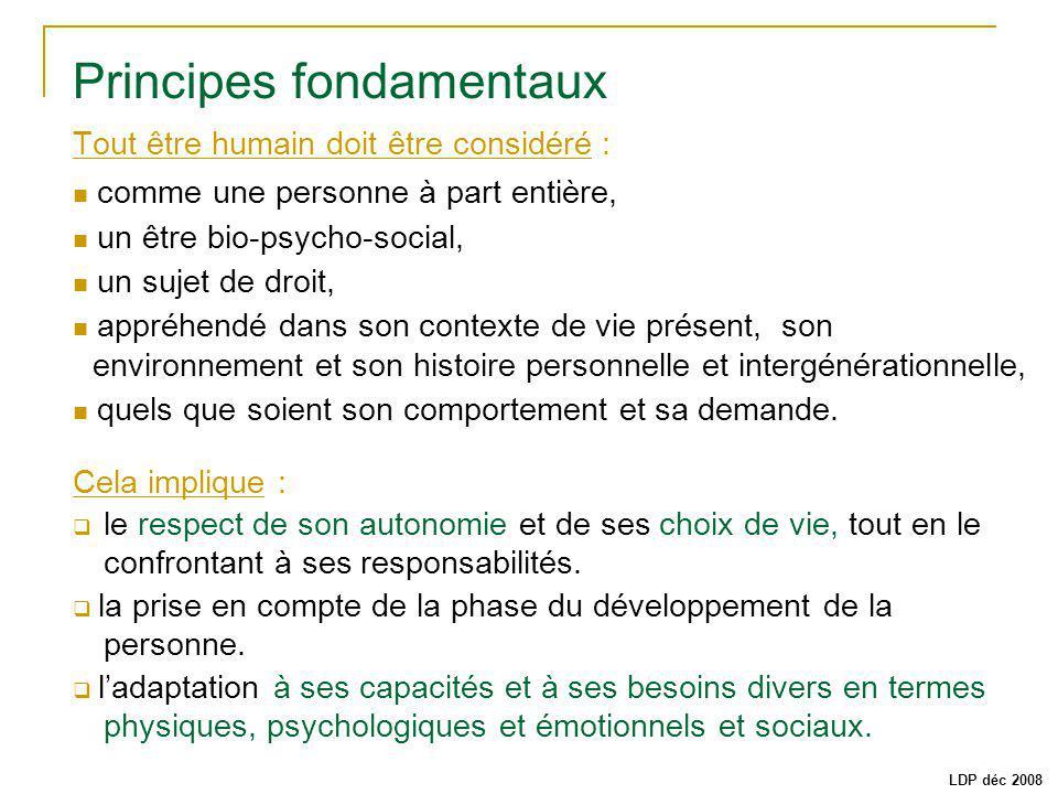 Principes fondamentaux Tout être humain doit être considéré : comme une personne à part entière, un être bio-psycho-social, un sujet de droit, appréhe
