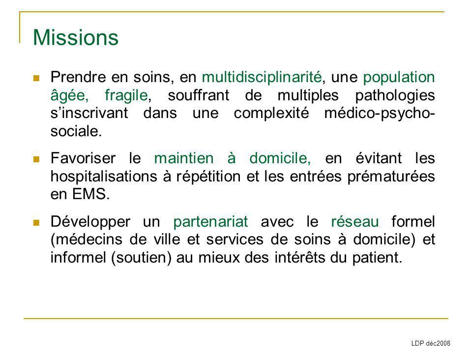 Missions Prendre en soins, en multidisciplinarité, une population âgée, fragile, souffrant de multiples pathologies sinscrivant dans une complexité médico-psycho- sociale.