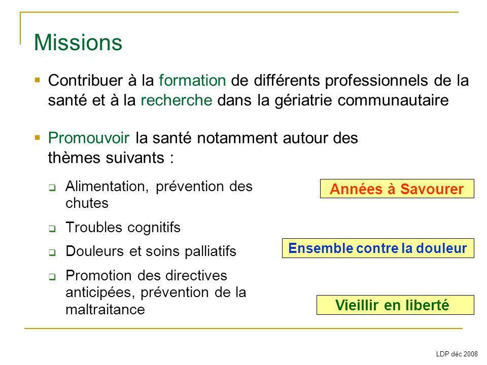Alimentation, prévention des chutes Troubles cognitifs Douleurs et soins palliatifs Promotion des directives anticipées, prévention de la maltraitance