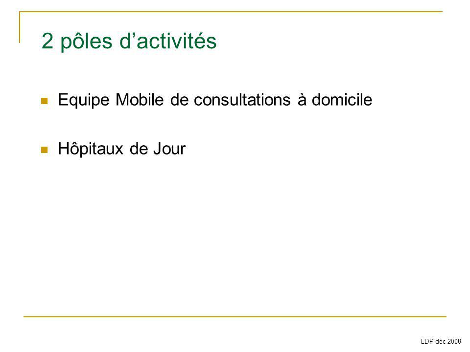 Equipe Mobile de consultations à domicile Hôpitaux de Jour 2 pôles dactivités LDP déc 2008