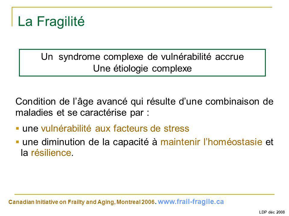 La Fragilité Canadian Initiative on Frailty and Aging, Montreal 2006. www.frail-fragile.ca Condition de lâge avancé qui résulte dune combinaison de ma