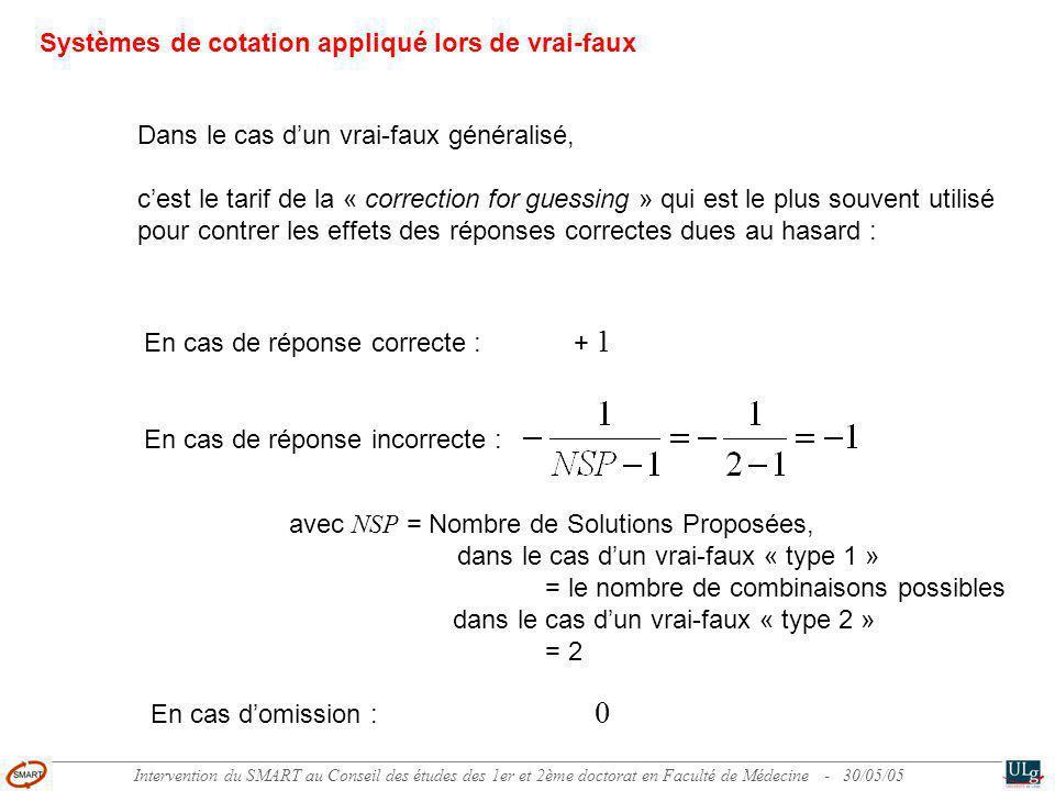 Intervention du SMART au Conseil des études des 1er et 2ème doctorat en Faculté de Médecine - 30/05/05 Dans le cas dun vrai-faux généralisé, cest le tarif de la « correction for guessing » qui est le plus souvent utilisé pour contrer les effets des réponses correctes dues au hasard : Systèmes de cotation appliqué lors de vrai-faux En cas de réponse correcte : + 1 En cas de réponse incorrecte : En cas domission : 0 avec NSP = Nombre de Solutions Proposées, dans le cas dun vrai-faux « type 1 » = le nombre de combinaisons possibles dans le cas dun vrai-faux « type 2 » = 2