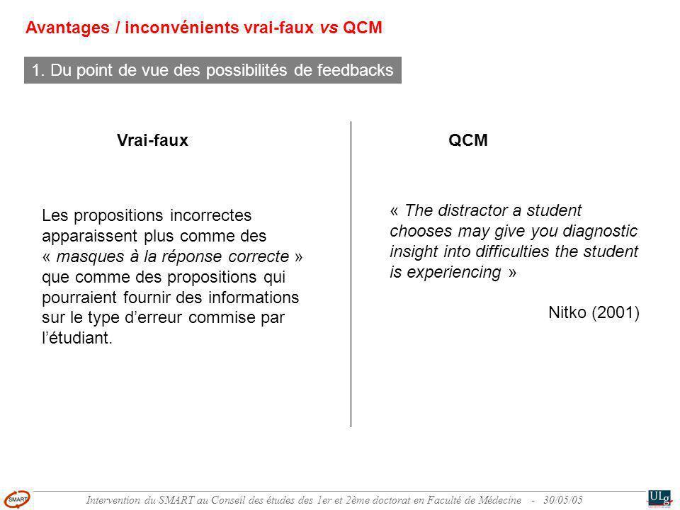 Intervention du SMART au Conseil des études des 1er et 2ème doctorat en Faculté de Médecine - 30/05/05 Comment améliorer la qualité des tests standardisés interdisciplinaires .