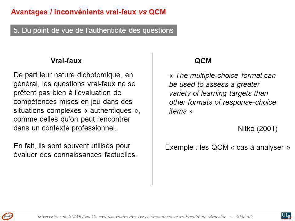 Intervention du SMART au Conseil des études des 1er et 2ème doctorat en Faculté de Médecine - 30/05/05 6.