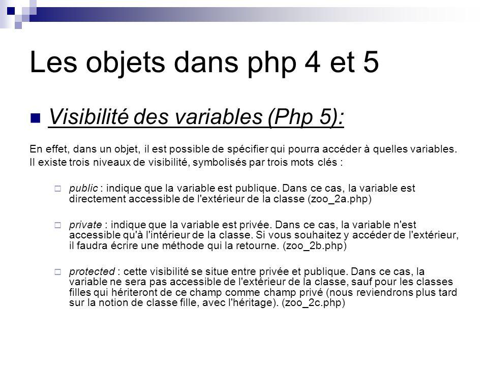Les objets dans php 4 et 5 Visibilité des variables (Php 5): En effet, dans un objet, il est possible de spécifier qui pourra accéder à quelles variables.