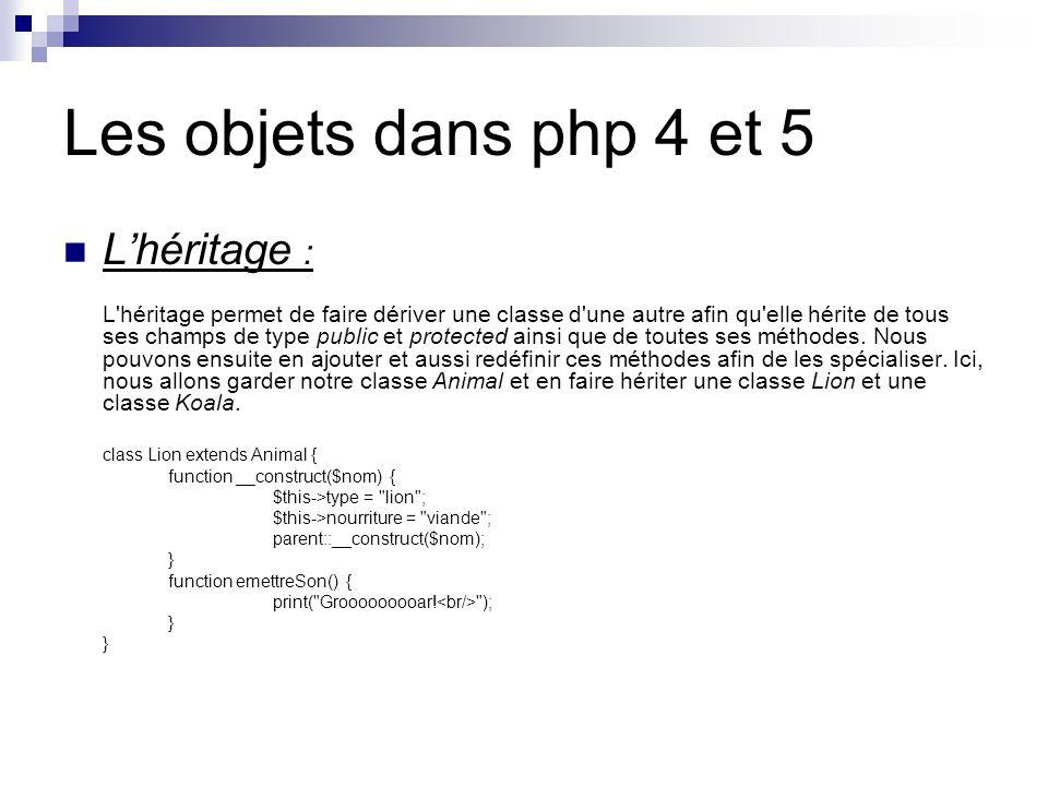 Les objets dans php 4 et 5 Lhéritage : L héritage permet de faire dériver une classe d une autre afin qu elle hérite de tous ses champs de type public et protected ainsi que de toutes ses méthodes.