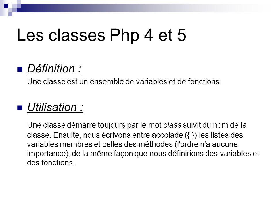 Les classes Exemple : <?php //php 5 class Animal { // les trois caractéristiques dun animal public $type; public $nom; public $nourriture; // laction que lanimal peut effectuer function emettreSon(){ print( Le $this->type pousse son cri .