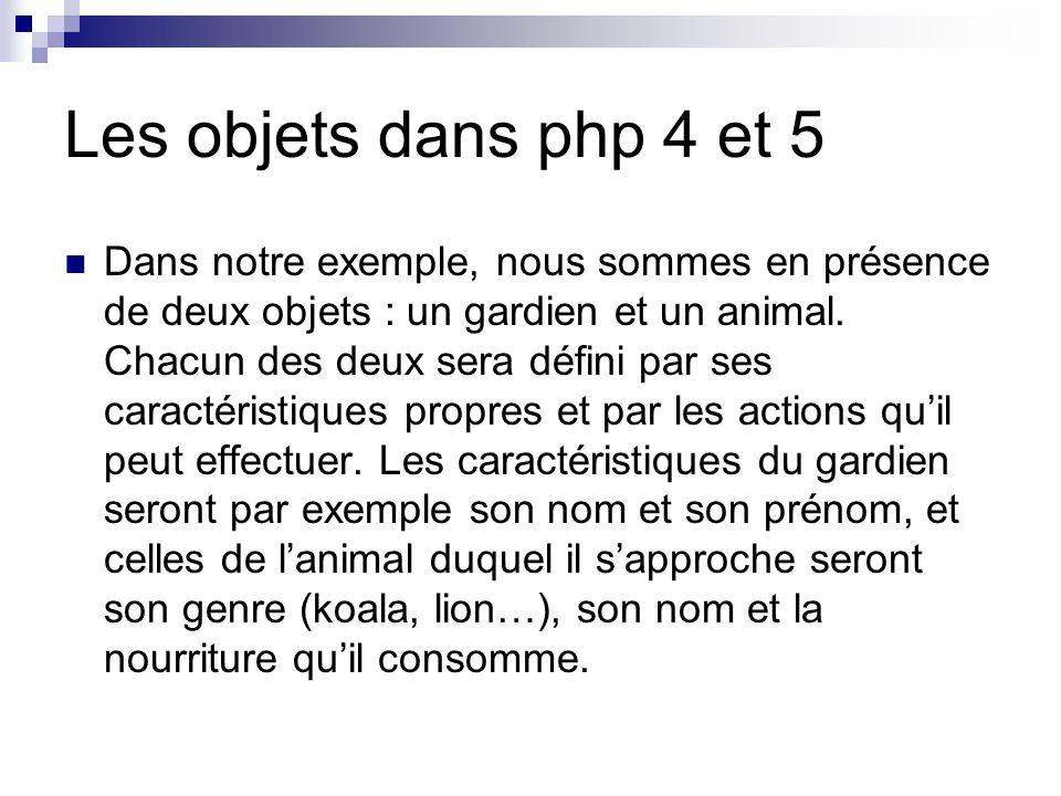 Les objets dans php 4 et 5 Dans notre exemple, nous sommes en présence de deux objets : un gardien et un animal.
