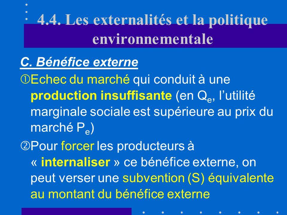 C. Le cas des bénéfices externes Q P D O PSPSPSPS PePePePe QeQeQeQe QSQSQSQS D : bénéfice marginal social S PCPCPCPC 4.4. Les externalités et la polit