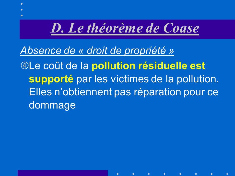 Absence de « droit de propriété » Frais de dépollution (ACE) sont pris en charge par les victimes de la pollution Grâce à la diminution de la pollutio